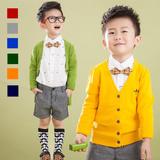 男童毛衣针织开衫外套V领2016秋冬新款韩国儿童上衣中大童潮童装