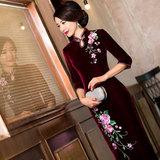 旗袍裙2016新款春装丝绒旗袍长款婚礼妈妈装复古改良时尚大码旗袍