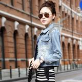 2016春装新款韩版女装修身显瘦短款破洞牛仔外套镶钻牛仔上衣女