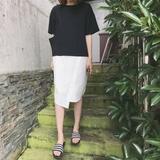 蘑菇街夏季新款女装韩版原宿风宽松短袖假两件中长款T恤连衣裙女