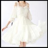 高级定制卡复古欧式名媛洛丽塔吊带露肩雪纺公主蓬蓬小洋装连衣裙