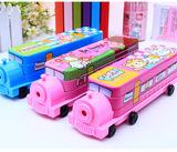 邮男女孩儿童文具盒三层汽车多功能可爱火车铅笔盒铁小学生礼物包