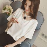 白色短袖t恤女装夏装2016新款潮韩国大码宽松简约流苏项链上衣服