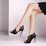 2016春新款黑白色鱼嘴性感高跟凉鞋包跟 女 网状布防水台细跟凉鞋