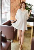韩国孕妇装进口代购 2016年春夏季新款个性蕾丝灯笼袖雪纺连衣裙