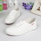 文艺小白鞋女低帮系带白色帆布鞋女学生休闲鞋平跟平底女鞋球鞋