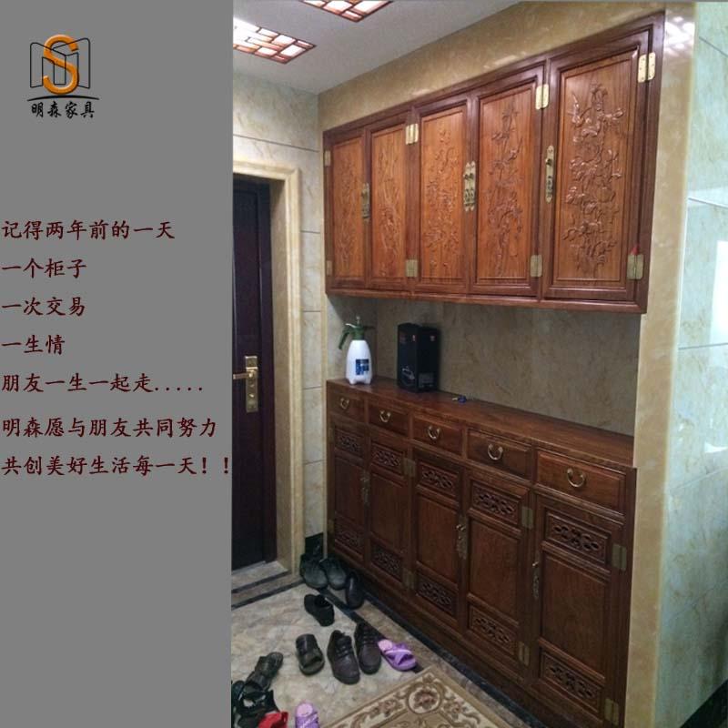 红木家具鞋柜实木仿古鞋柜门厅玄关柜收纳柜中式家具入户门鞋柜图片