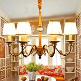 美式乡村客厅灯欧式仿铜铁艺时尚简约创意餐厅卧室书房水晶吊灯具
