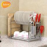 SAKURA厨房置物架碗架沥水架碗碟架厨房用品用具304不锈钢收纳