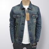 欧美出口外贸原单牛仔外套男复古修身牛仔衣夹克余文乐春季韩版潮
