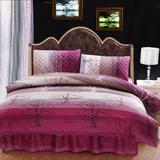 全棉夹棉加厚床裙床罩四件套秋冬保暖纯棉床套1.5米1.8m床上用品