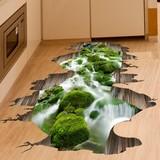 3D立体墙贴纸贴画卧室房间厨房地贴地板山水风景溪流河流防水自粘