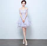 一字肩婚纱礼服短款短裙蓬蓬裙伴娘服晚礼服新娘结婚敬酒服短袖裙