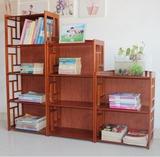 儿童组合书柜书架原木酒红色实木落地多层竹架子隔板床头柜置物架
