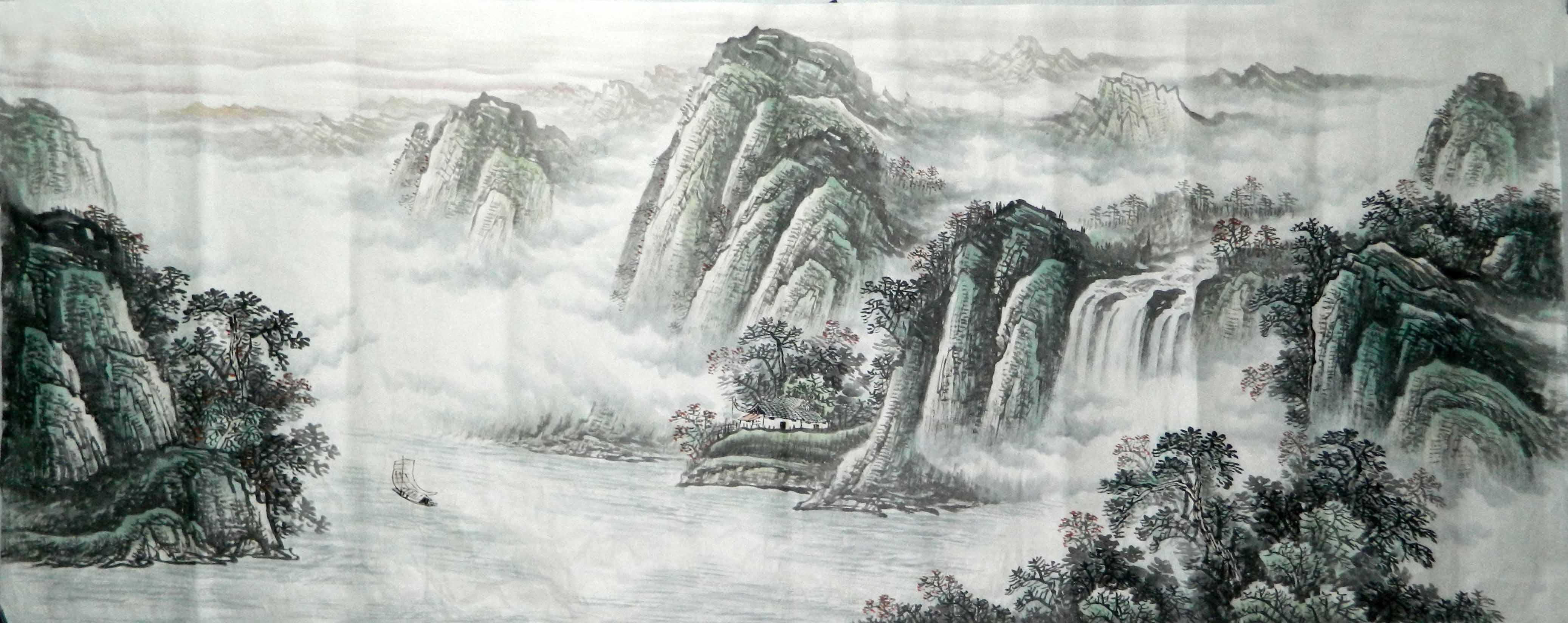 纯手工国画小八尺峡江山水水墨高山流水横幅无款山水一帆风顺4图片