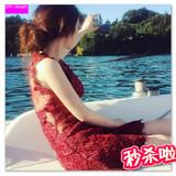 2016连衣裙春装大红色露背性感花朵蕾丝网纱无袖修身显瘦大码短裙
