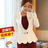 2015韩版春秋季新品大码女士小西服潮修身荷叶边短款西装外套长袖