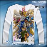 日本动漫新款数码宝贝男女款长袖满幅圆领纯白色牛奶丝T恤衫包邮