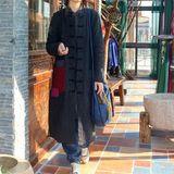 原创棉麻地正品民族风女装补丁拼色口袋立领盘扣水洗亚麻棉衣棉袍