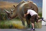 3D趣味娱乐犀牛屁股幽默动物大型立体纯手绘油画酒店装饰会所壁画