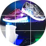 七彩夜光鞋儿童发光鞋usb充电休闲板鞋亲子鞋led灯光荧光鞋潮男女