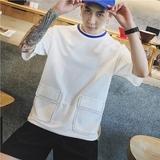 子俊大口袋设计男士撞色圆领体恤衫夏季青少年宽松短袖T恤潮半袖