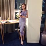 范未儿2016春季连衣裙纯色中长款吊带背心裙大码女修身包臀长裙