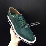 欧洲代购Prada/普拉达2015年秋冬新款绿色松糕鞋女士皮鞋大码女鞋