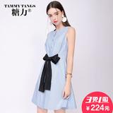 糖力2016夏装新款欧美 蓝色女装圆领连衣裙无袖修身时尚裙子