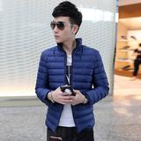 冬季加厚保暖男士棉衣韩版修身短袖青年立领羽绒棉衣男棉袄外套潮