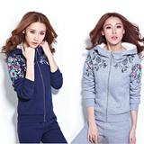 秋冬装新款加厚加绒卫衣两件套 学生绣花运动服休闲套装大码女式