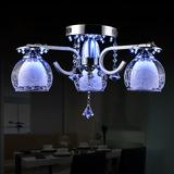 高档LED节能水晶灯吸顶灯双层花纹玻璃灯罩圆形客厅灯饰卧室灯具