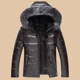 男士皮衣真皮羽绒服短款带帽狐狸毛领立领皮衣男皮夹克冬装皮外套