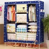 简易衣柜布艺双人实木大号宜家收纳组装布衣柜牛津布加固折叠衣橱