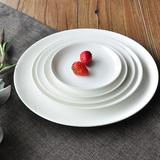 纯白色骨瓷盘子创意陶瓷平盘浅盘家用菜盘深汤盘碟西餐牛排盘餐具