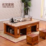 欧式客厅天然大理石茶几白色实木功夫茶几简约现代办公室茶艺台