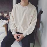 港风秋季新款男士灯芯绒宽松卫衣韩版青少年蝙蝠袖套头长袖体恤衫