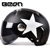 BEON防紫外线防晒摩托车哈雷头盔电动车半盔夏季四季男女士安全帽