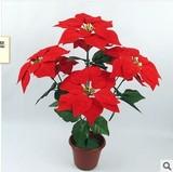 仿真花卉绢花假花 圣诞花 一品红一片红盆栽厂家直销批发