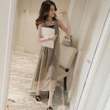 韩国代购夏季新款修身中长款雪纺背心连衣裙两件套女无袖气质长裙