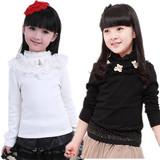 女童春秋2016新款纯棉儿童打底衫黑白色加厚加绒女孩蕾丝长袖t恤
