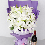 香水百合花束鲜花速递杭州宁波温州全国同城花店送花新鲜生日祝福