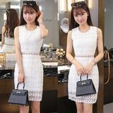 韩版女装连衣裙夏中长款修身显瘦高腰蕾丝性感透视网纱无袖包臀裙