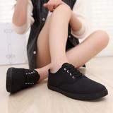 全黑色低帮纯黑色帆布鞋女学生休闲鞋男鞋系带工作鞋球鞋平底女鞋