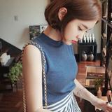 高朋针织*夏季韩版修身打底衫针织高领无袖背心毛衣女薄款套头衫