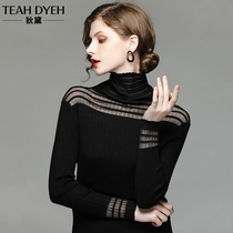 Dide 2018 autumn Winter new foreign gas shoulder perspective hollow Black bottom knitted sleeve turtleneck sweater lady