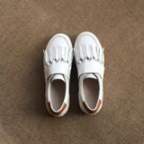 2016春季新款白色流苏运动休闲女鞋魔术贴平底真皮圆头乐福鞋单鞋