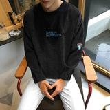 秋季日系卫衣男圆领套头宽松薄款韩版潮学生潮男长袖外套复古条纹