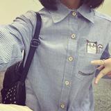 森女文艺范刺绣猫咪翻领条纹女衬衣长袖韩版学生百搭秋季打底衬衫