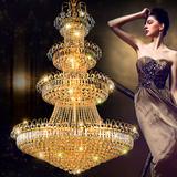 欧式大型水晶长吊灯客厅圆形大厅吊灯别墅复式楼梯吊灯三层大吊灯